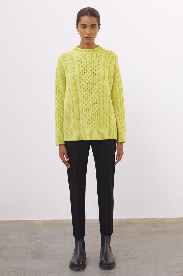 New In! Ina Geelong Aran Crewneck in Lime Green