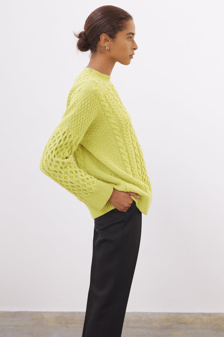 Ina Geelong Aran Crewneck in Lime Green