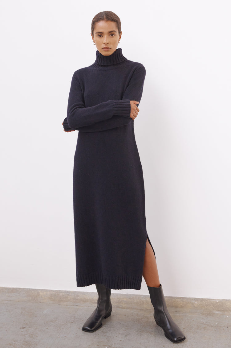 Pre Order! Simone Lambswool Roll Neck Dress in Navy