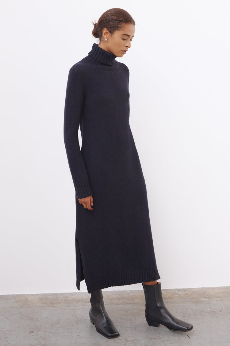 Simone Lambswool Roll Neck Dress in Navy