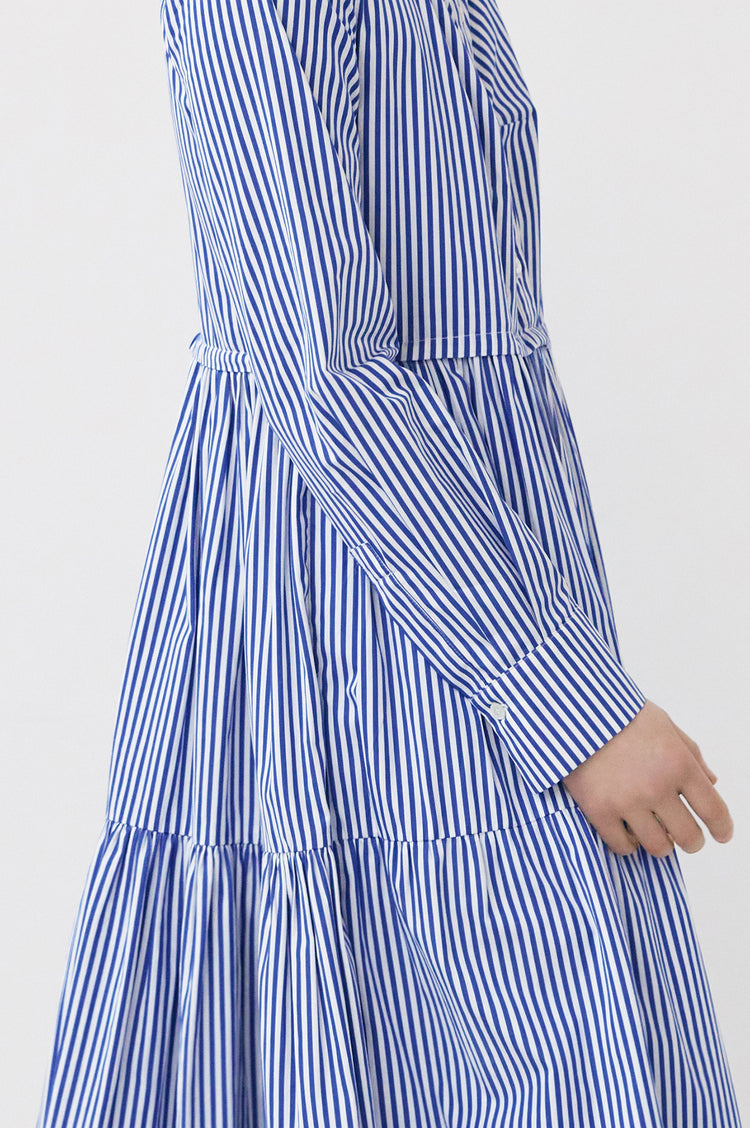 Vivian Tiered Shirt Dress in Blue & White Stripe