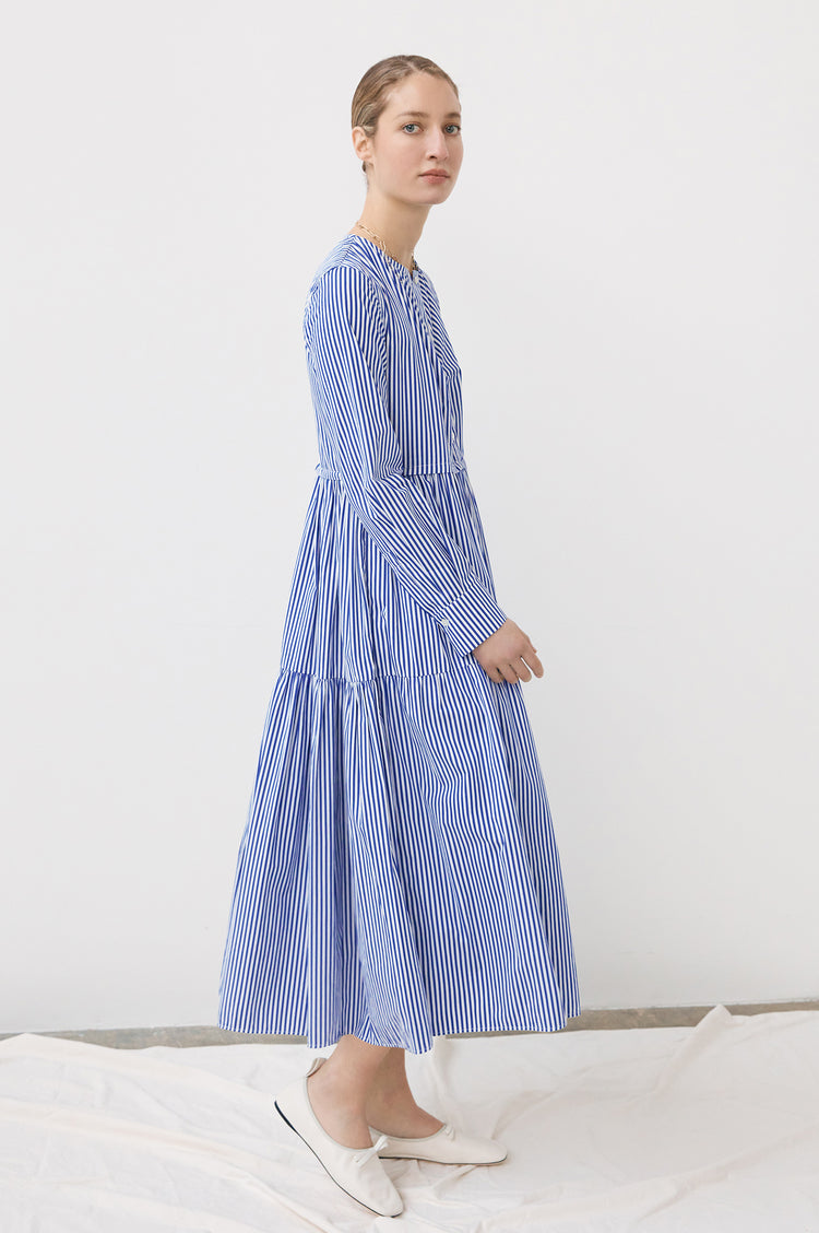 New In! Vivian Tiered Shirt Dress in Blue & White Stripe