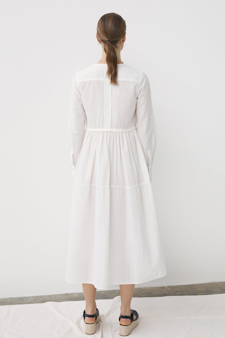 Vivian Tiered Shirt Dress in Ecru Seersucker