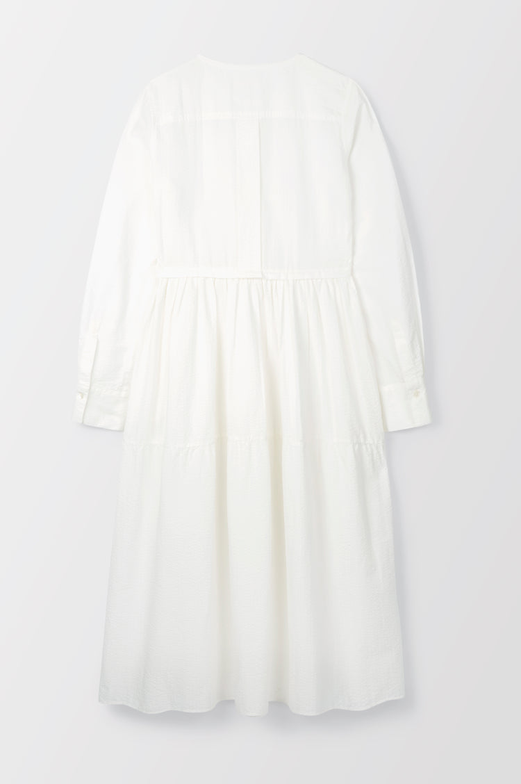 New In! Vivian Tiered Shirt Dress in Ecru Seersucker
