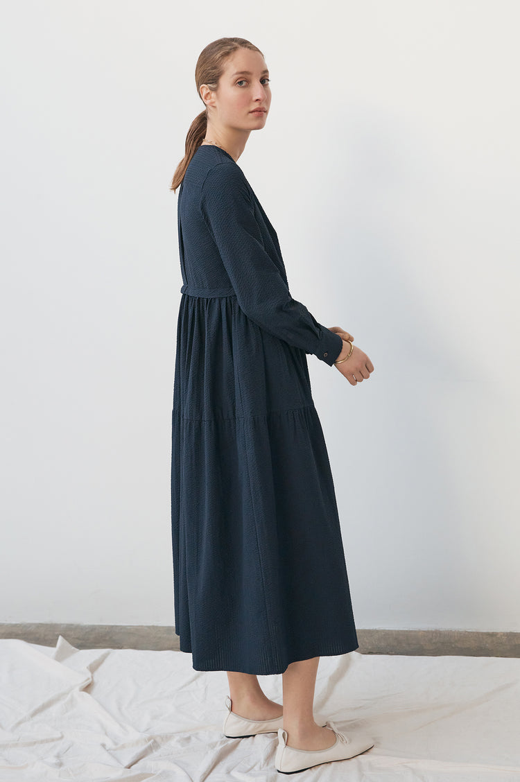 Vivian Tiered Shirt Dress in Navy Seersucker