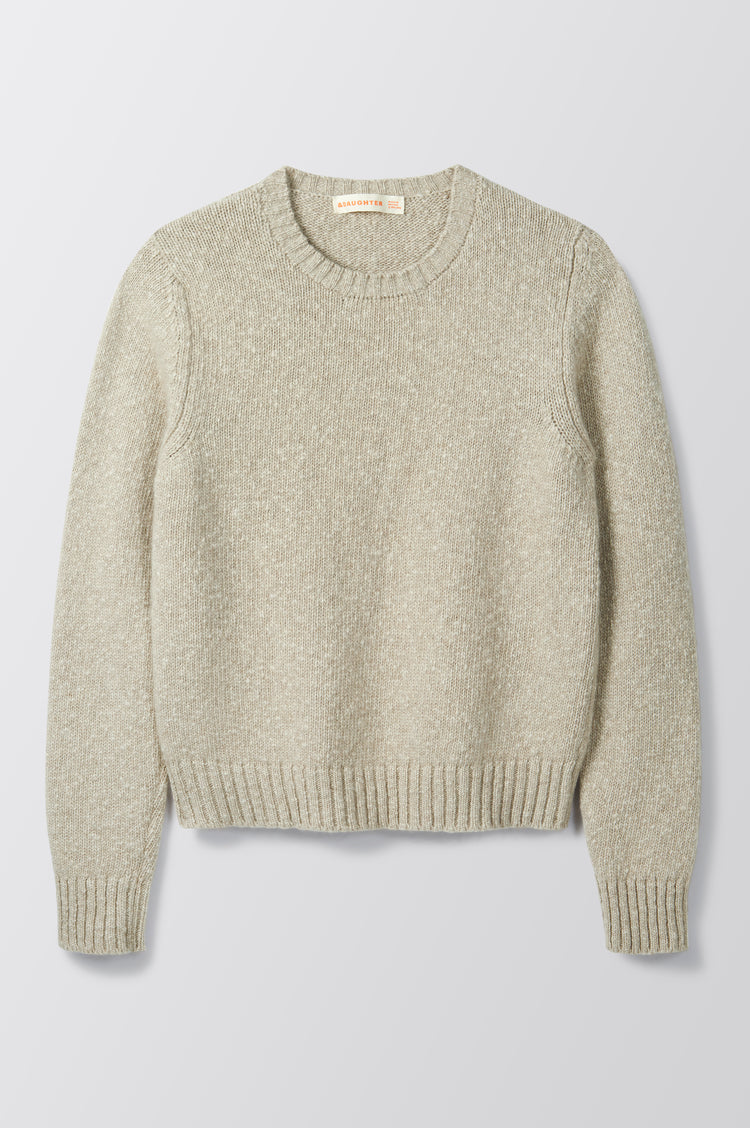 New In! Sorcha Bouclé Crewneck Slub in Biscuit