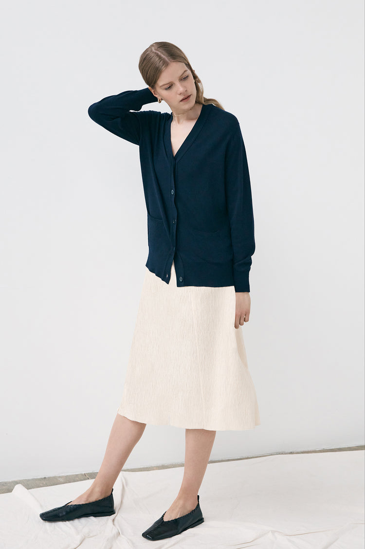 New In! Moira Superfine Merino Cardigan in Navy
