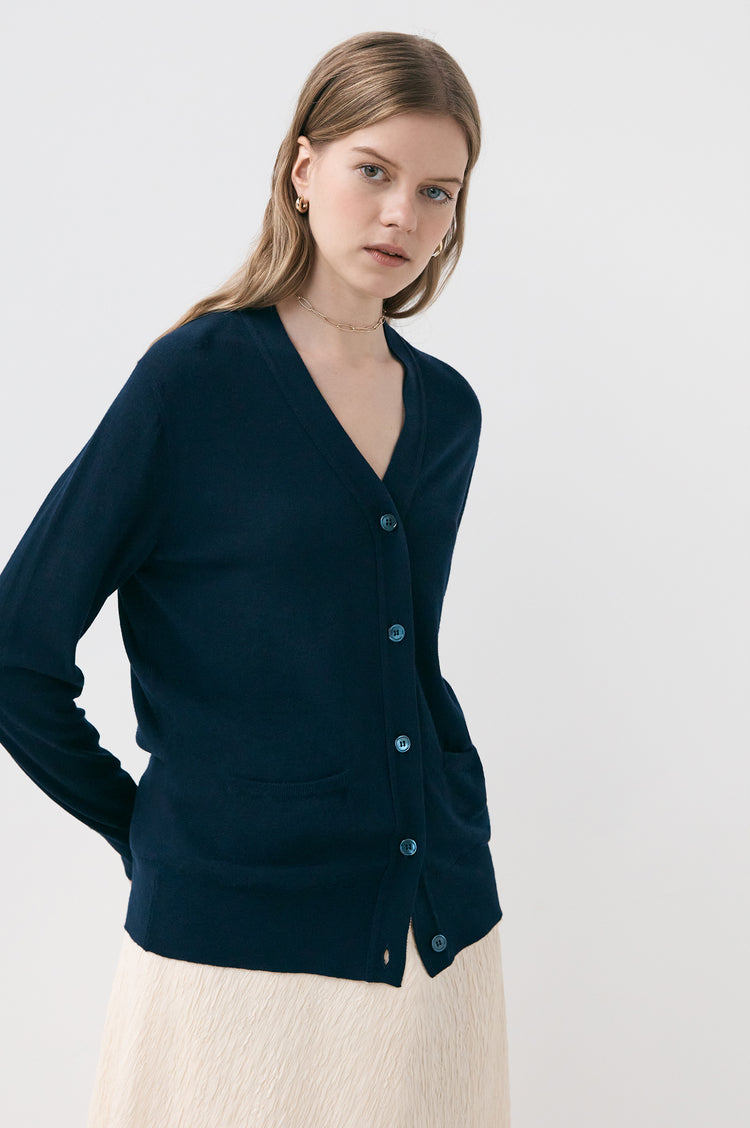 Moira Superfine Merino Cardigan in Navy