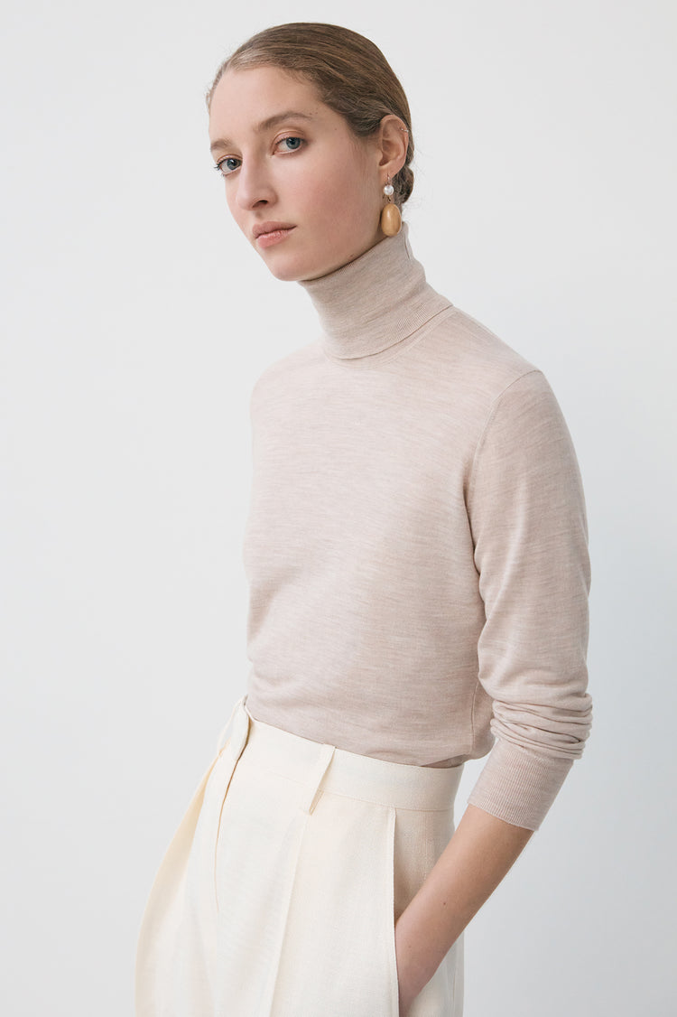 New In! Edna Extrafine Merino Roll Neck in Beige