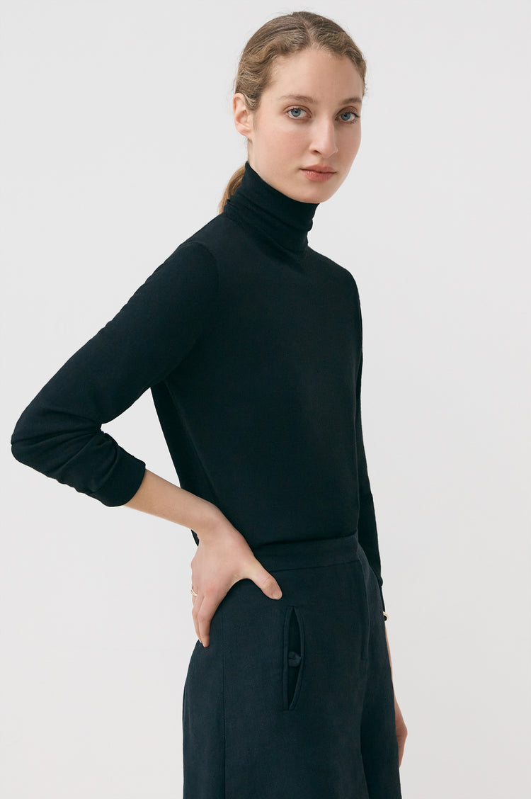 New In! Edna Extrafine Merino Roll Neck in Black