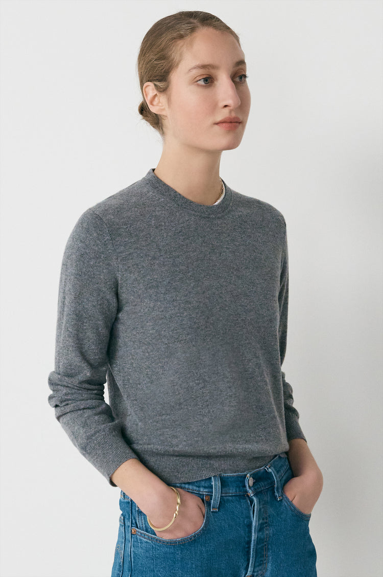 New In! Innes Classic Cashmere Crewneck in Grey
