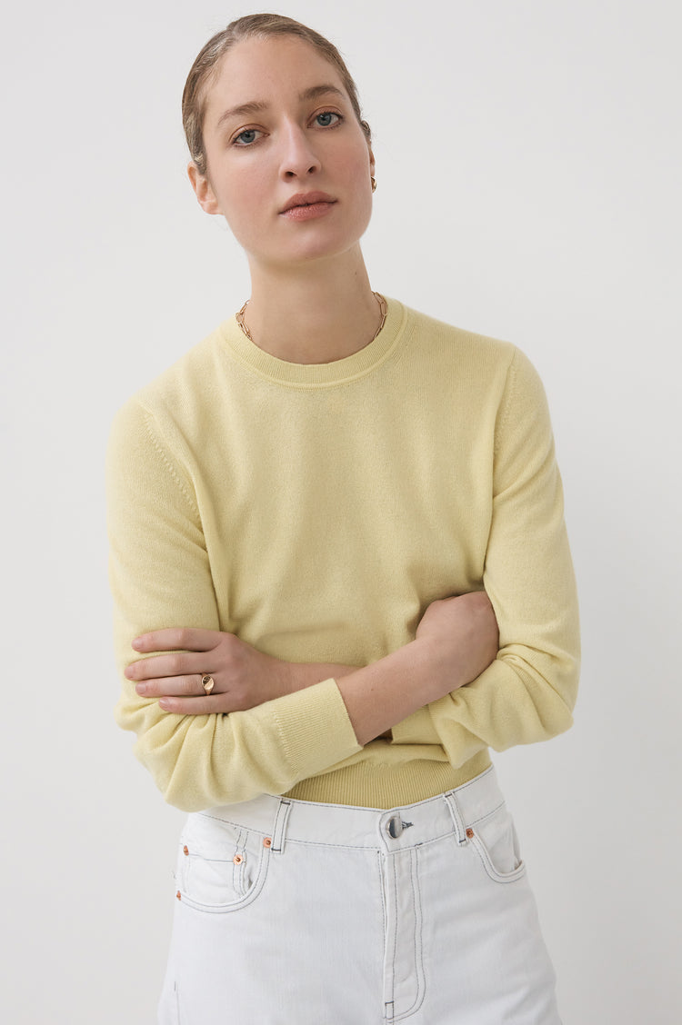 New In! Innes Classic Cashmere Crewneck in Lemon Yellow