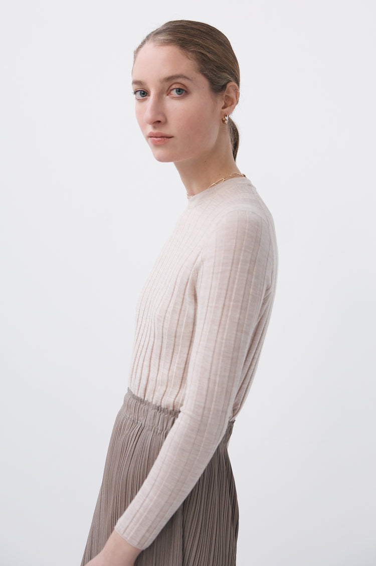 Mathilda Extrafine Merino Ribbed Crew in Beige