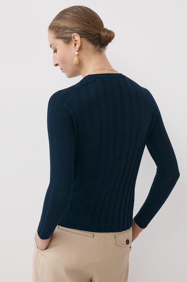 Mathilda Extrafine Merino Ribbed Crew in Navy