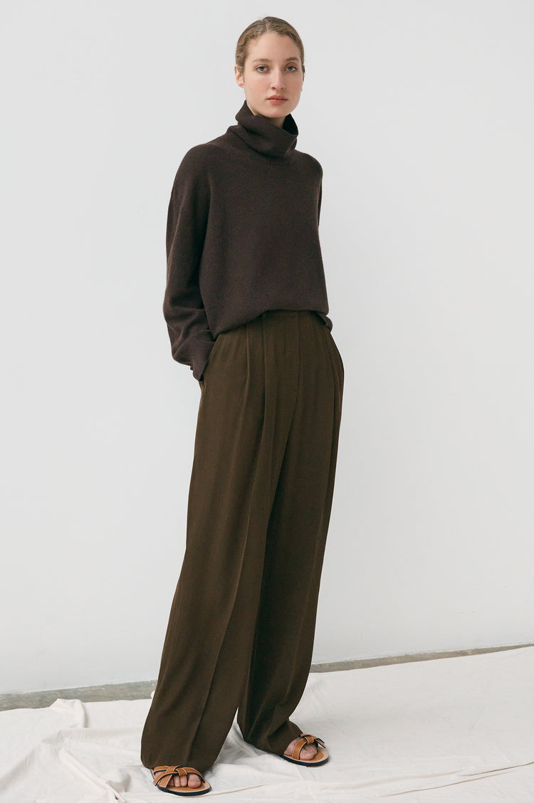 New In! Olive Oversized Cashmere Roll Neck in Chocolate Brown