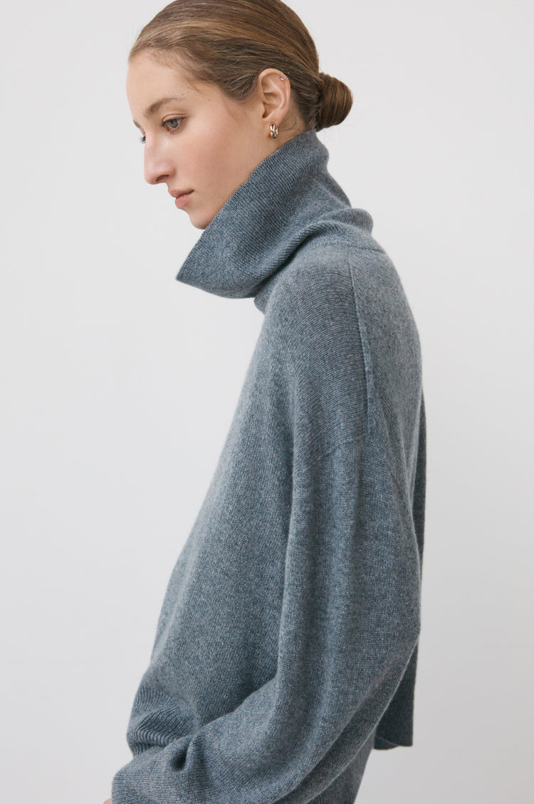 New In! Olive Oversized Cashmere Roll Neck in Grey