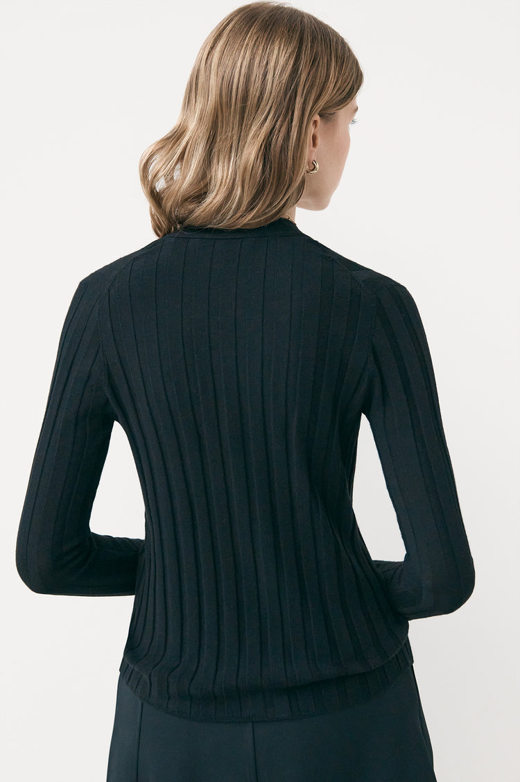 Rudie Extrafine Merino Ribbed Cardigan in Black