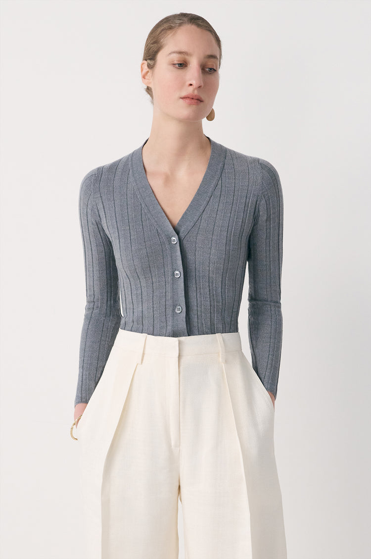 New In! Rudie Extrafine Merino Ribbed Cardigan in Grey