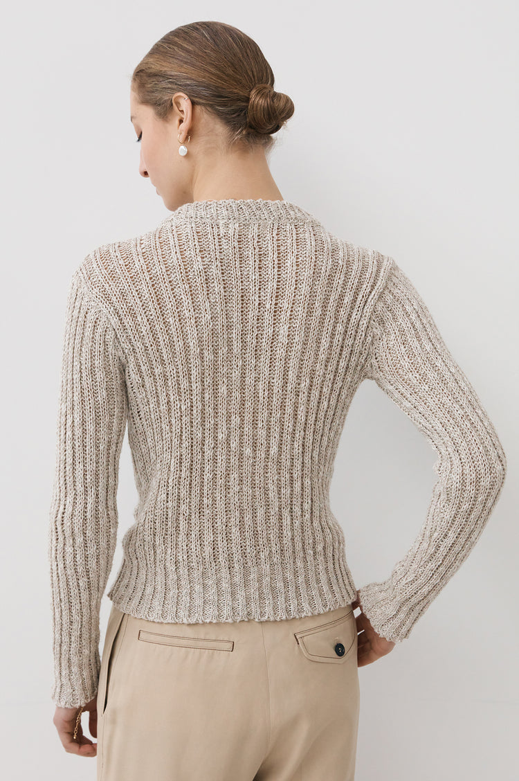 New In! Vera Linen Rib Crewneck in Natural
