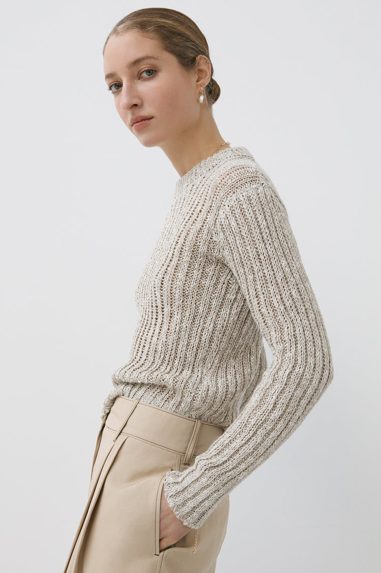 Vera Linen Rib Crewneck in Natural