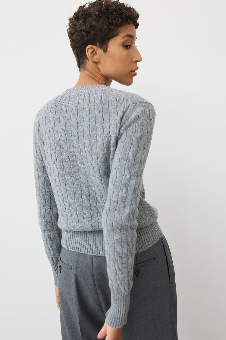 Nora Cashmere Cable Crew Neck in Grey