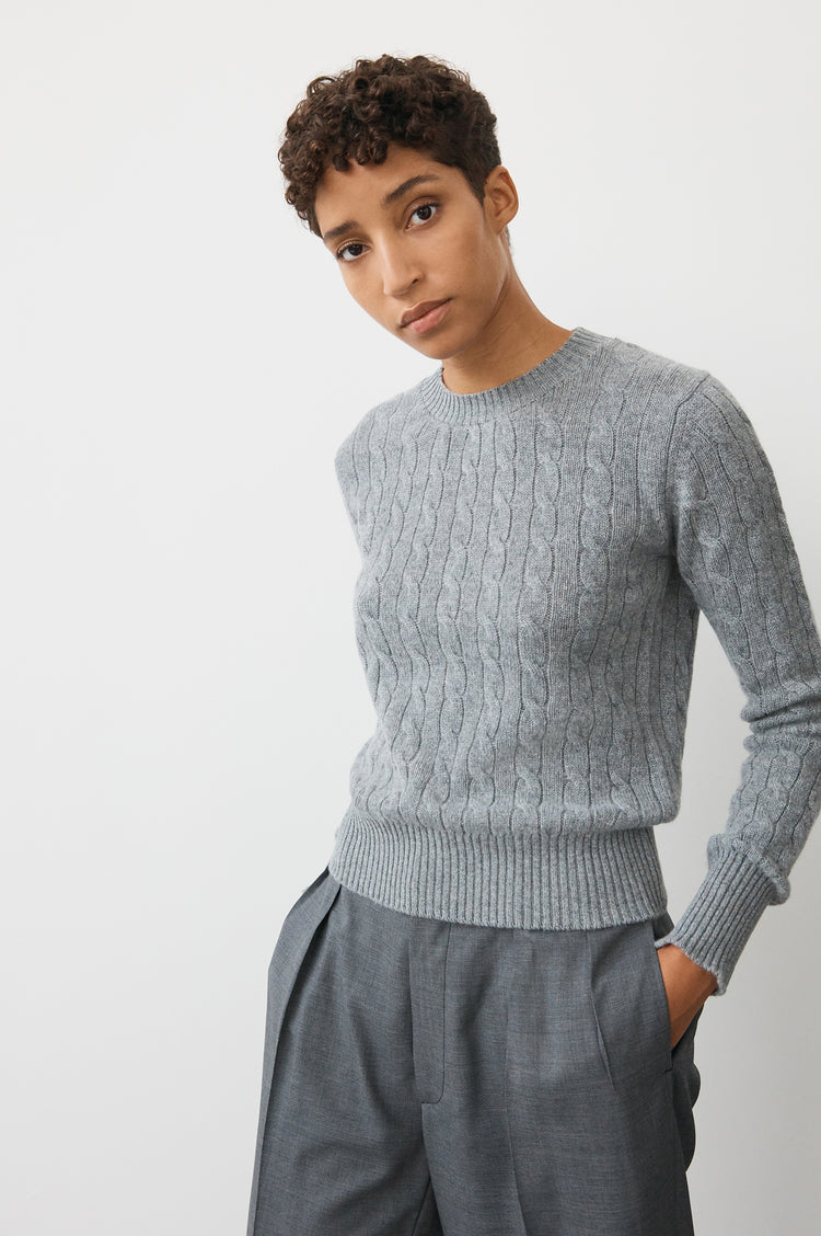 Nora Cashmere Cable Crewneck in Grey