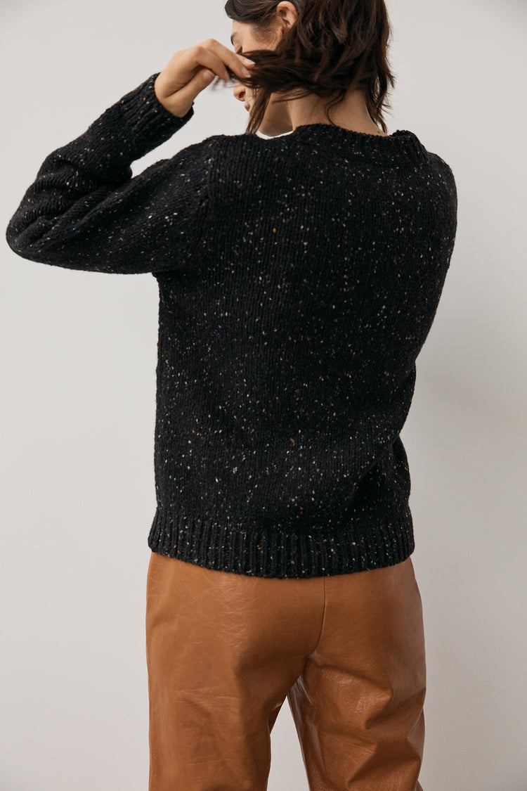 Back In Stock! Arden Donegal Crewneck in Black