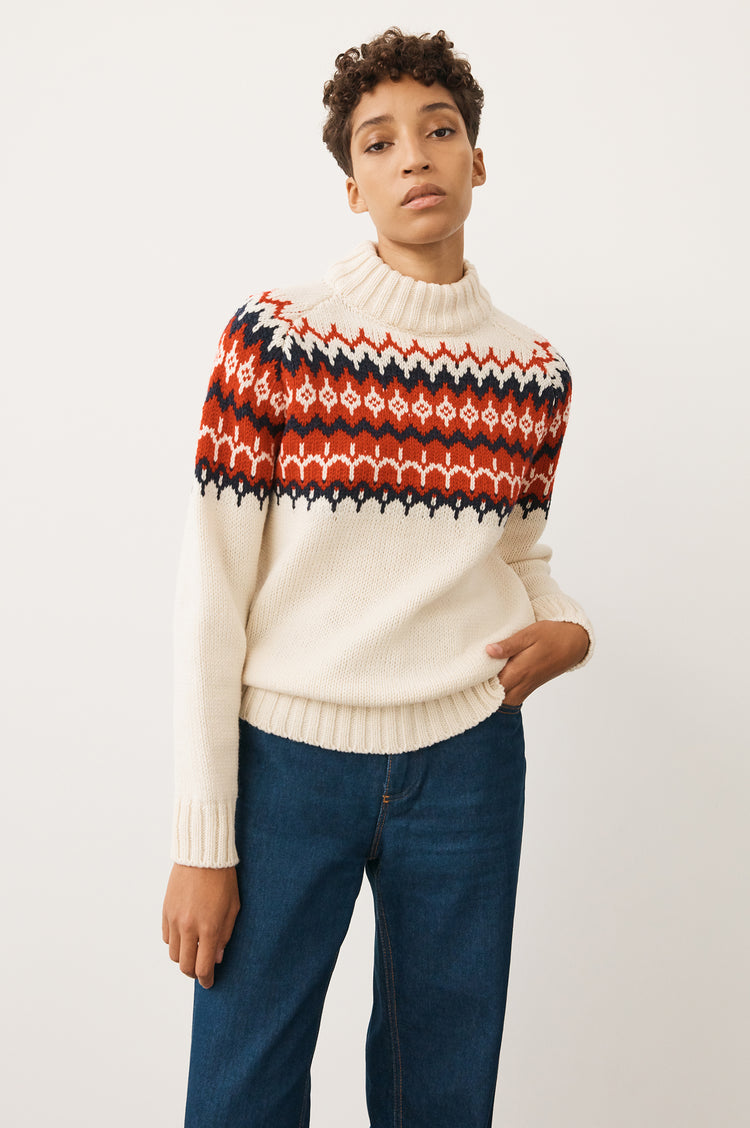Bansha Fair Isle Knit in Ecru/Red