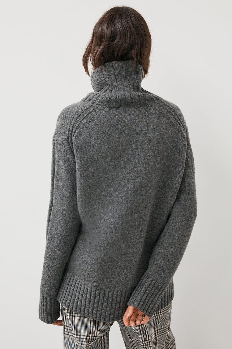 Fintra Lambswool Tunic Knit in Grey
