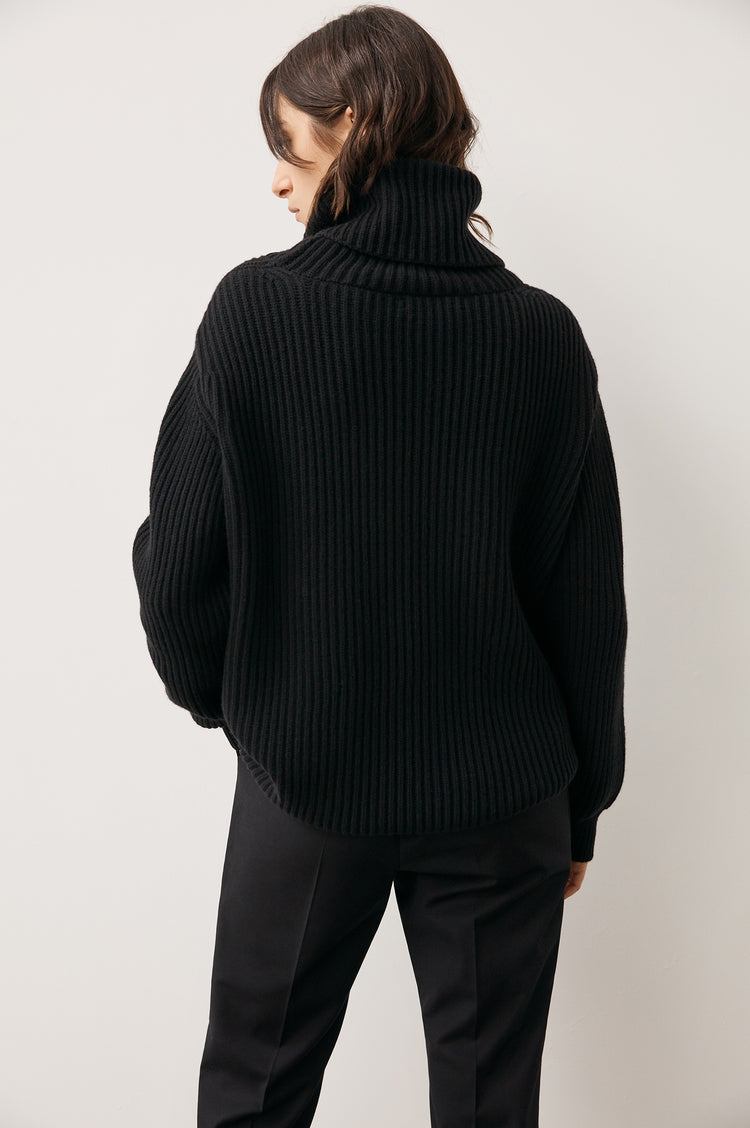 Back In Stock! Inver Rib Roll Neck Knit in Black