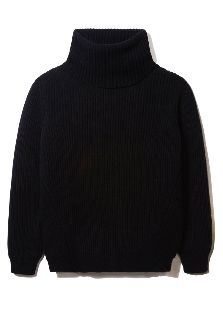 Inver Rib Roll Neck Knit in Black