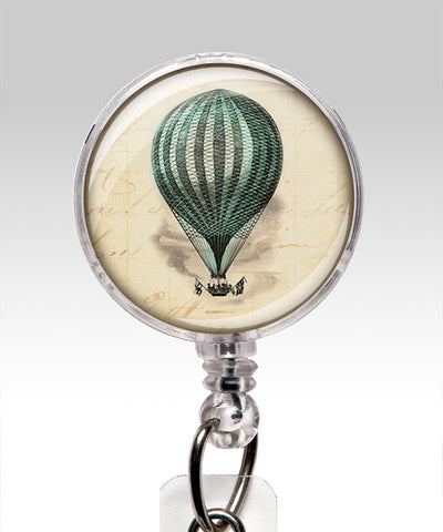 Close up of Name Badge Holder Vintage Air Balloon Blue ID Badge Holder
