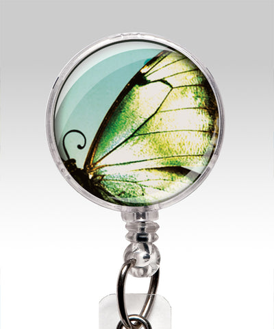 Retractable ID Badge Holder WHimsical Butterfly Name Badge close up