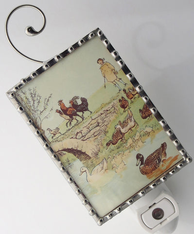 Night Light Vintage Barnyard Storybook Night Light close up