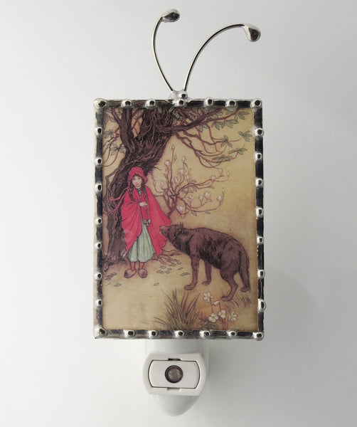 front view of little red riding hood night light by pretty picture gifts