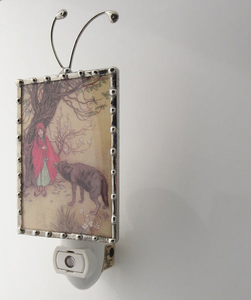 side view of little red riding hood night light by pretty picture gifts