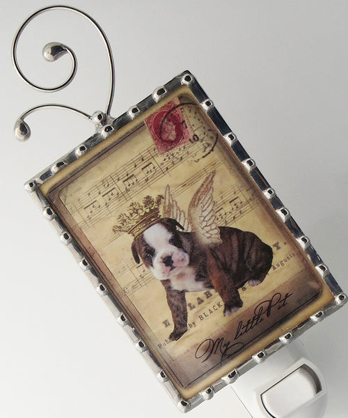 Shabby Chic Puppy Night Light Dog Nightlight close up