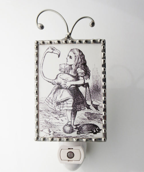Alice in Wonderland Holding a Bird Night Light Alice Nightlight