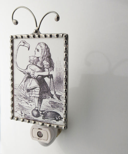 Alice in Wonderland Holding a Bird Night Light Alice Nightlight close up