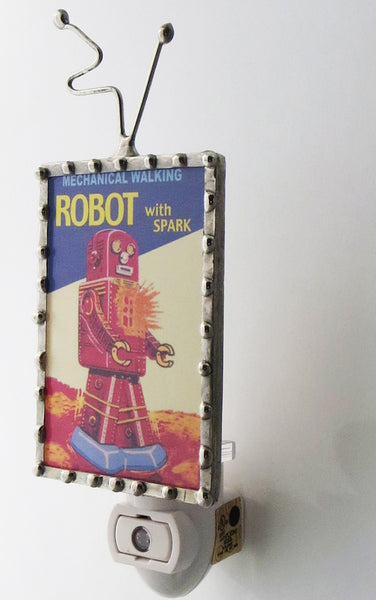 Sparky the Robot Night Light Boys Bedroom Lighting by Pretty Picture Gifts