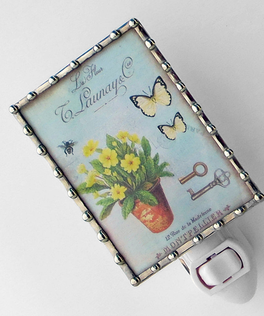 Country Chic Flowers on Blue Night Light by Pretty Picture Gifts