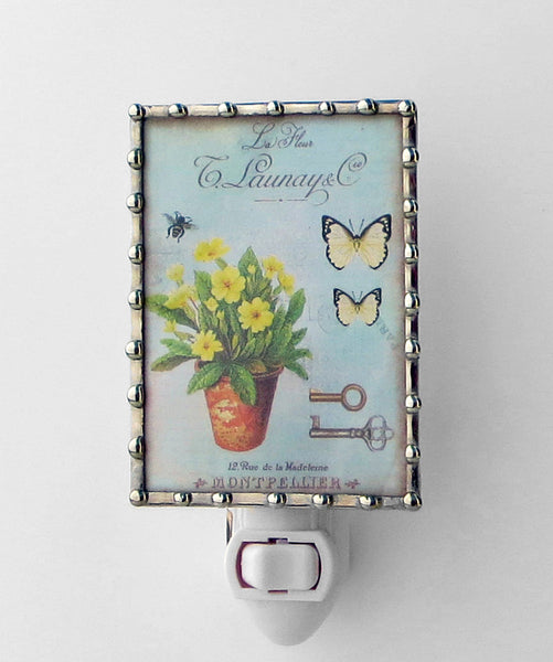 Country Chic Flowers on Blue Night Light Nightlightsby Pretty Picture Gifts