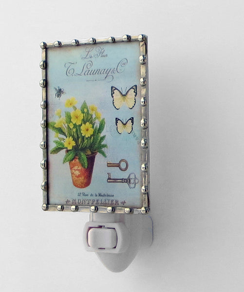 Country Chic Flowers on Blue Stained Glass Night Light by Pretty Picture Gifts