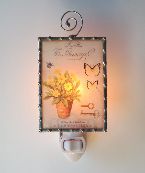 Country Chic Flowers on Blue Bedroom Night Light by Pretty Picture Gifts