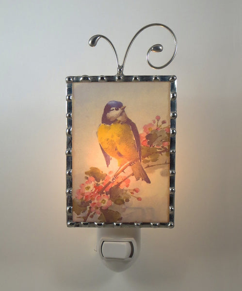Vintage Yellow Bird Night Light by Pretty Picture Gifts  light on