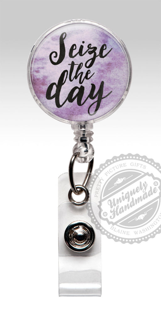 Seize the Day Retractable Badge Holder - Inspirational Badge Clip Rn Cna Doctor 500