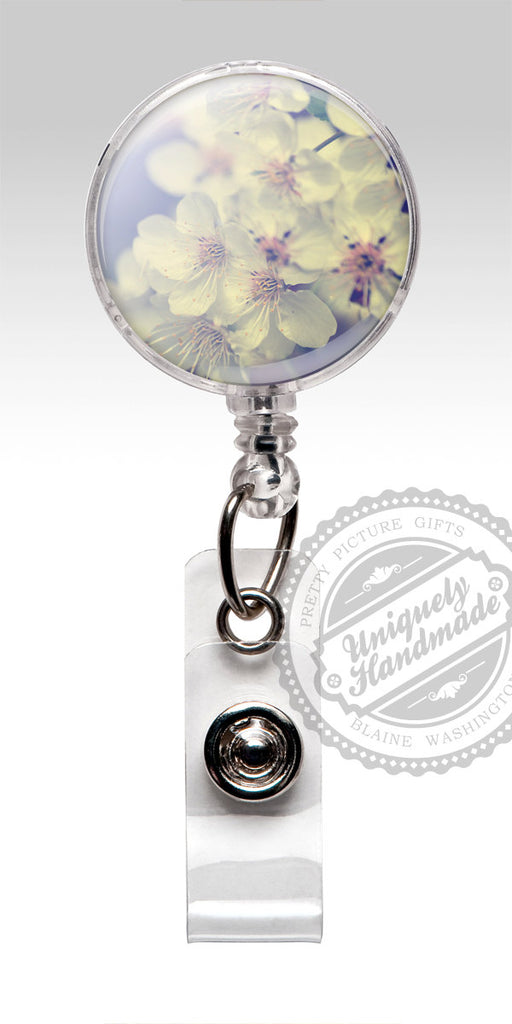 Cherry Blossom Spring Badge Reel - Lavender Flowers Retractable Badge Holder Accessory 505