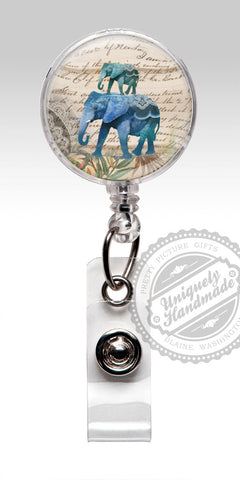 Blue Elephant Nurse Badge Holder - Cute Elephants Retractable Badge Holder 508