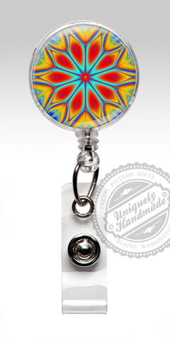 Boho Hipster Retractable Badge Holder - Kaleidoscope Badge Clip 482