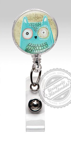 Cute Owl Name Badge Holder - Teal Owl Retractable Badge Holder 501